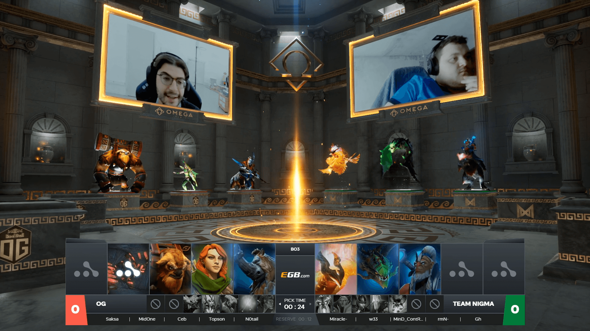 Team Nigma and OG players are picking their Dota 2 characters for a match in a virtual temple during the OMEGA League online tournament. Screenshot credit: WePlay Esports