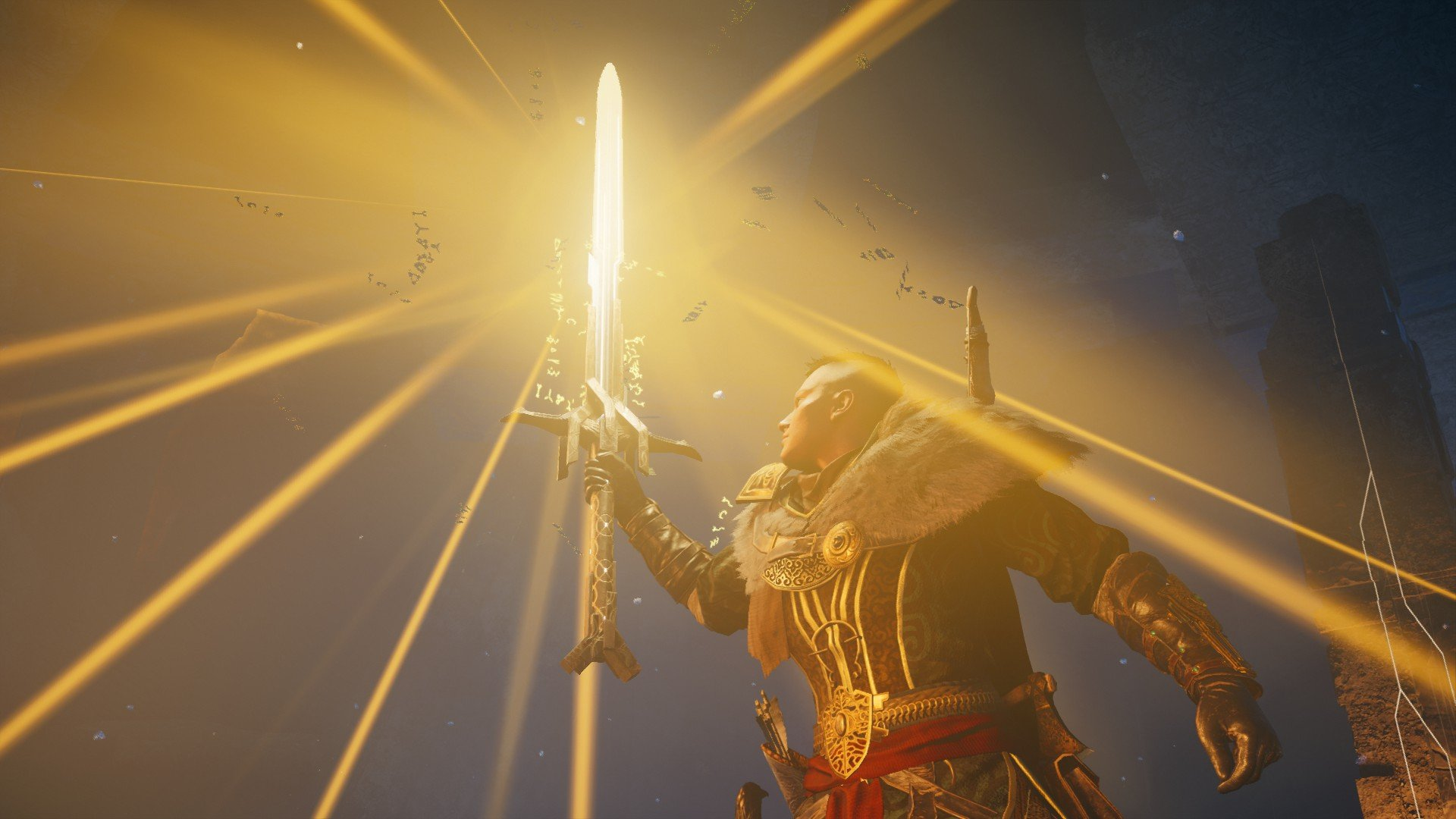 Eivor in a cave, holding up Excalibur in the air as it glows