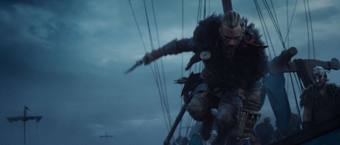 Male Eivor jumping over the side of his Viking longship with the Yngling Seax in hand