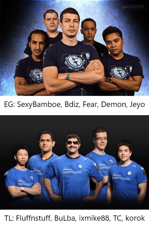 Evil Geniuses and Team Liquid in 2013
